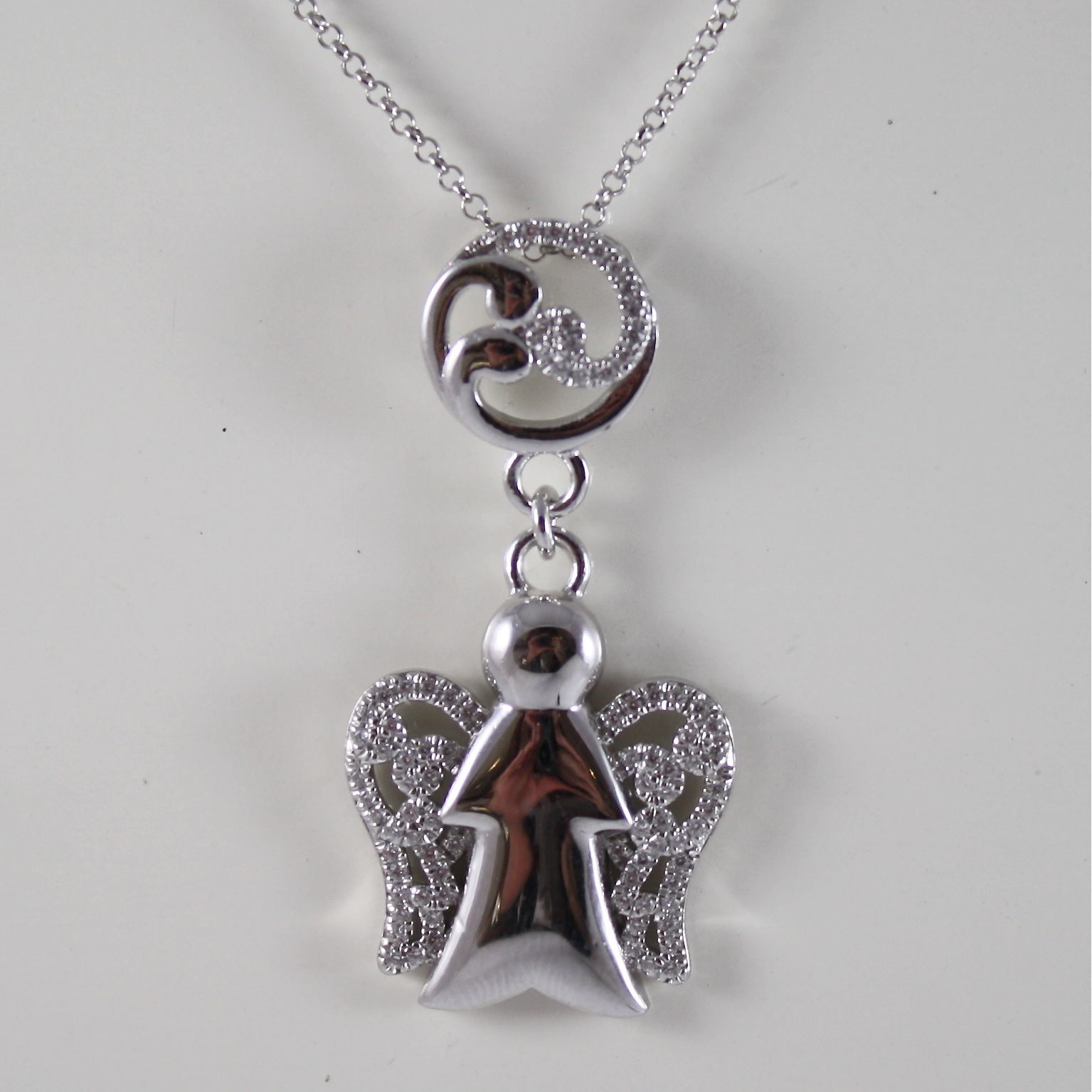 925 SILVER NECKLACE WITH ANGEL PENDANT GIA91 MADE IN ITALY BY ROBERTO GIANNOTTI