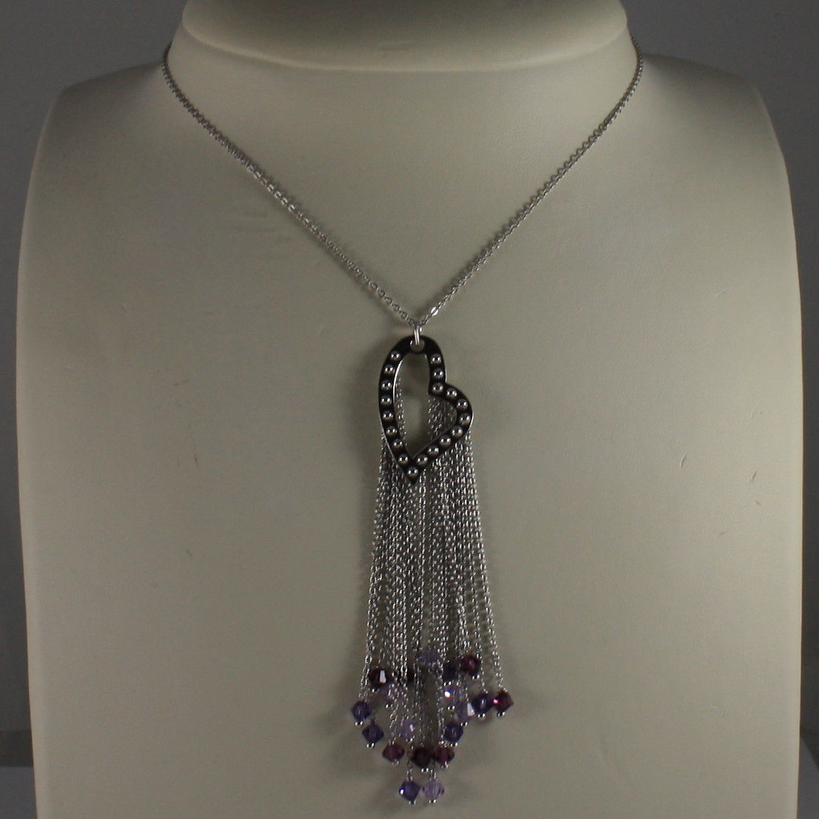 .925 SILVER RHODIUM NECKLACE WITH HEART PENDANT WITH PURPLE CRYSTALS