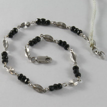 SOLID 18K WHITE GOLD BRACELET WITH BLACK FACETED CRYSTALS, CRYSTAL MADE IN ITALY