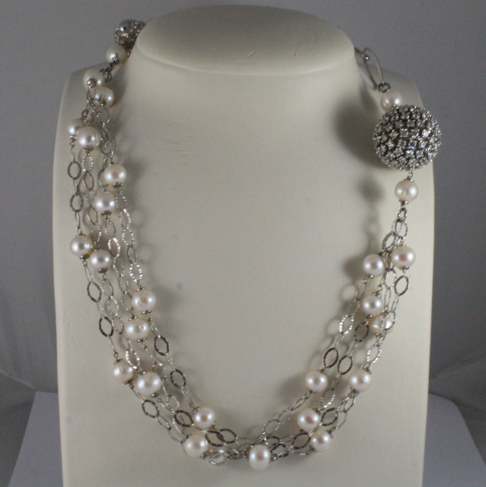 .925 SILVER RHODIUM NECKLACE WITH FRESHWATER WHITE PEARLS, SPHERE WITH ZIRCONIA