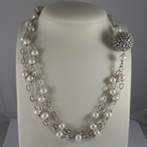 .925 SILVER RHODIUM NECKLACE WITH FRESHWATER WHITE PEARLS, SPHERE WITH ZIRCONIA image 1