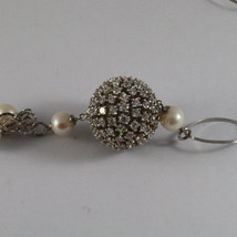 .925 SILVER RHODIUM NECKLACE WITH FRESHWATER WHITE PEARLS, SPHERE WITH ZIRCONIA image 4