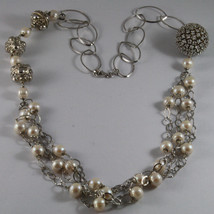 .925 SILVER RHODIUM NECKLACE WITH FRESHWATER WHITE PEARLS, SPHERE WITH ZIRCONIA image 2
