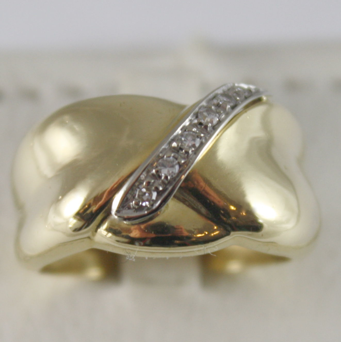 SOLID 18K YELLOW GOLD ETERNITY BAND RING WITH DIAMONDS CT 0.09 MADE IN ITALY