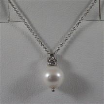 18K 750 WHITE GOLD PENDANT, DIAMOND (CT0.10) AND PEARL, NECKLACE, MADE IN ITALY