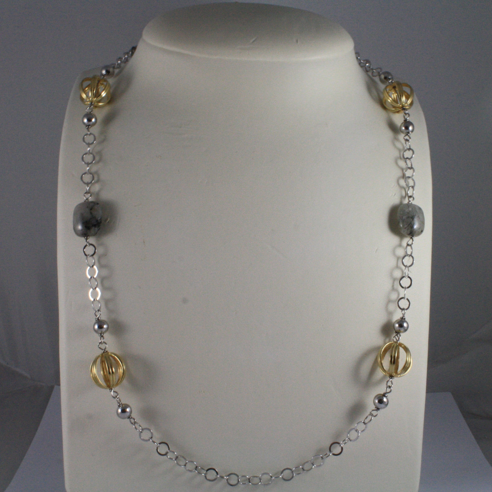 .925 SILVER RHODIUM NECKLACE WITH GRAY QUARTZ AND YELLOW GOLD PLATED SPHERES