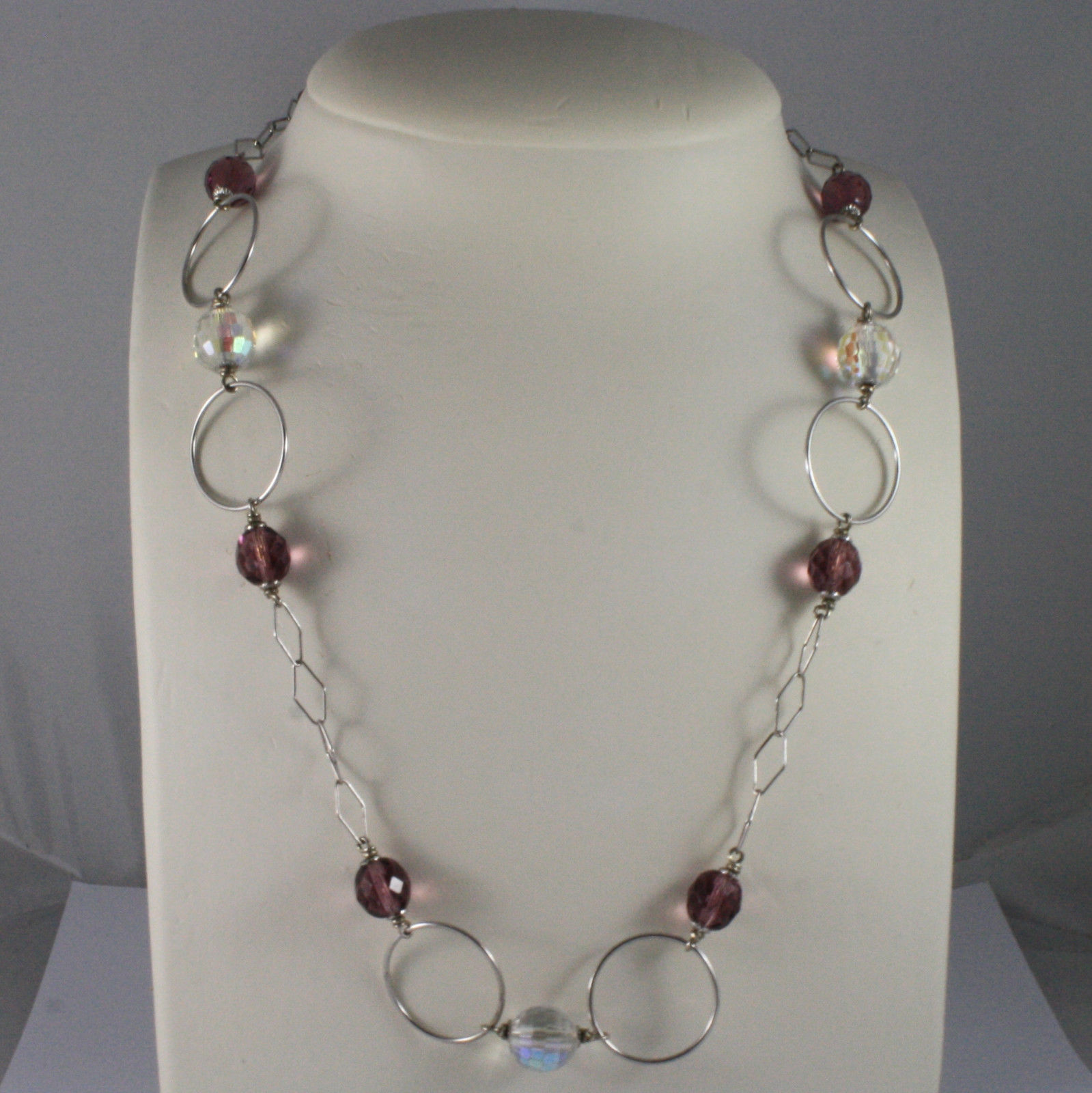 .925 SILVER RHODIUM NECKLACE WITH PURPLE AND TRANSPARENT CRISTAL AND WHEELS