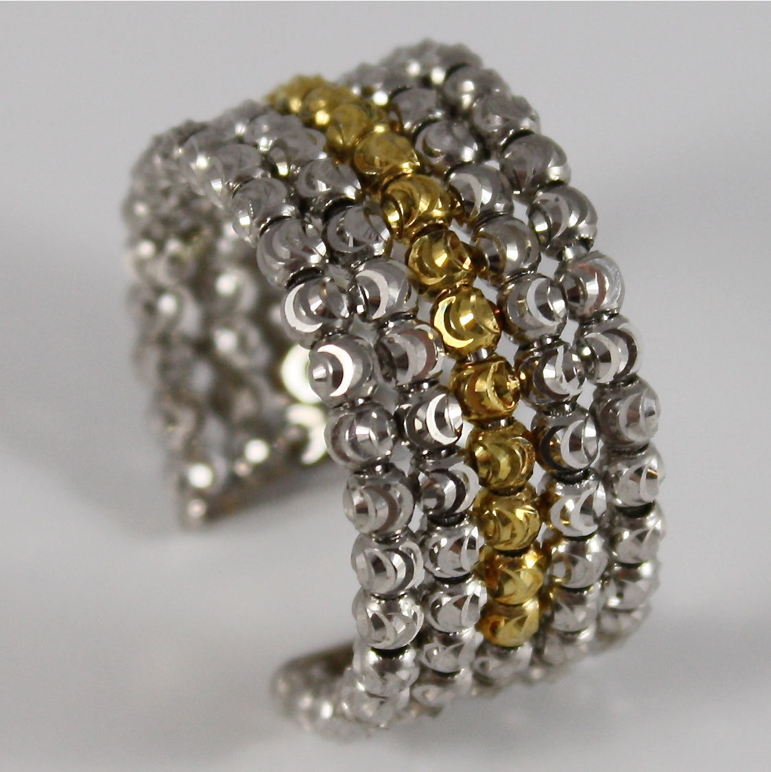925 SILVER RING OFFICINA BERNARDI FACETED BALLS MADE IN ITALY FIVE WIRE P. GOLD