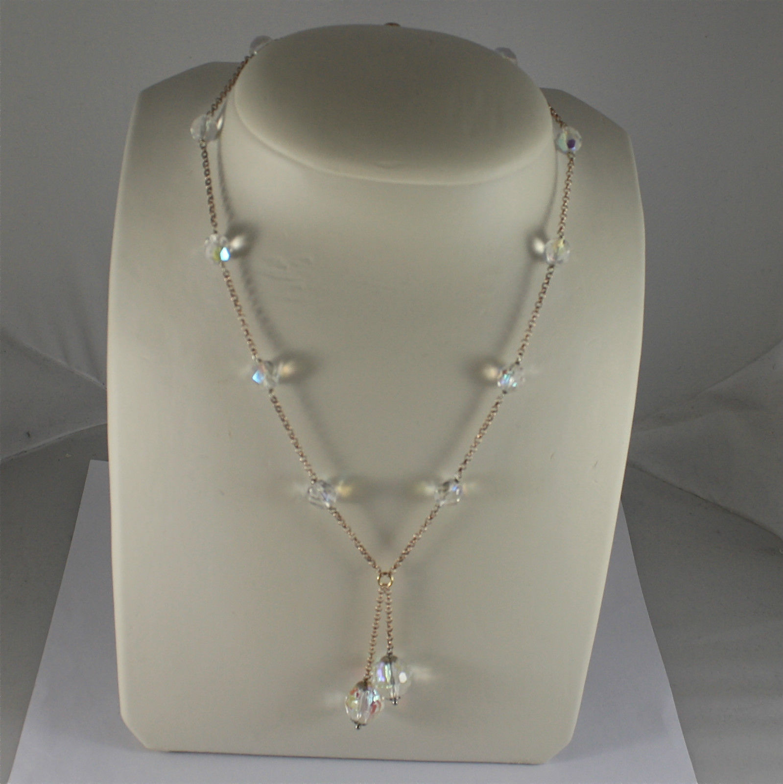 .925 SILVER NECKLACE, ROSE GOLD PLATED, 17,32 In, FACETED CRYSTAL BALLS, PENDANT
