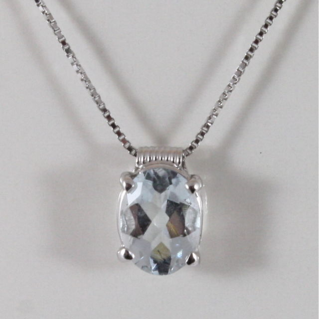 18K WHITE GOLD NECKLACE, AQUAMARINE CT 1.30 PENDANT, MADE IN ITALY