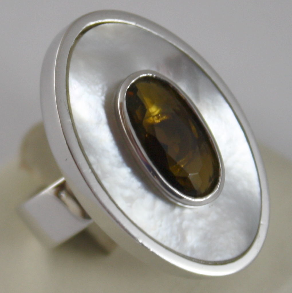 925 RHODIUM SILVER OVAL RING WITH MOTHER OF PEARL, NACRE AND BROWN CRISTAL