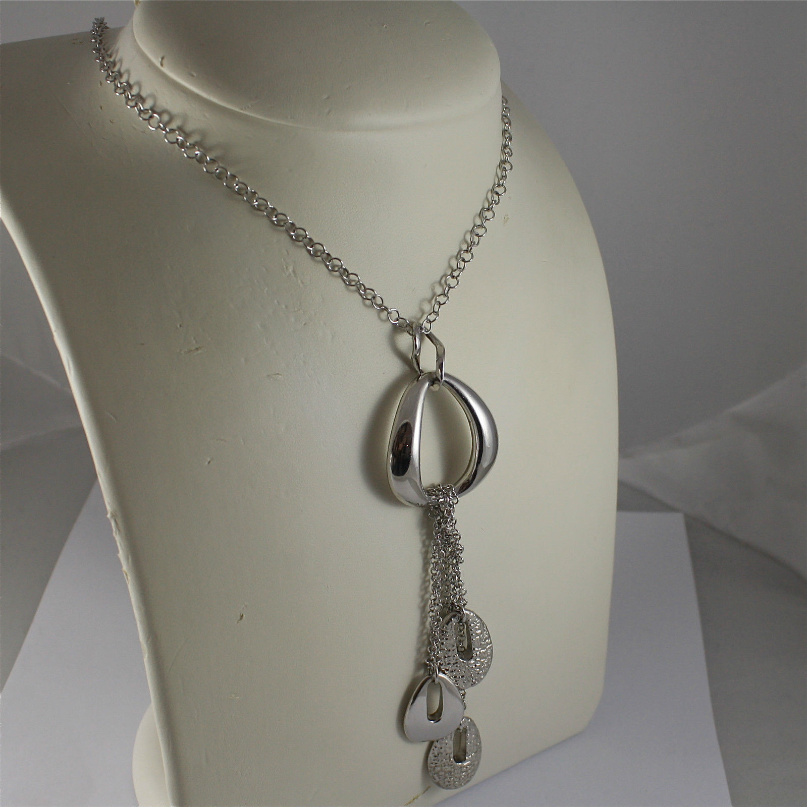 .925 RHODIUM SILVER NECKLACE, SCARF, OVAL CENTRAL,TRIPLE PENDANT, RAW WORKED.