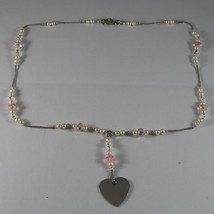 .925 RHODIUM NECKLACE WITH PINK CRYSTALS, WHITE PEARLS AND HEART image 2