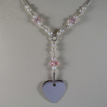 .925 RHODIUM NECKLACE WITH PINK CRYSTALS, WHITE PEARLS AND HEART image 3