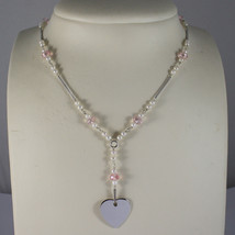 .925 RHODIUM NECKLACE WITH PINK CRYSTALS, WHITE PEARLS AND HEART
