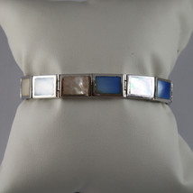 .925 RHODIUM SILVER BRACELET WITH RECTANGLES OF MOTHER OF PEARL BLUE AND WHITE