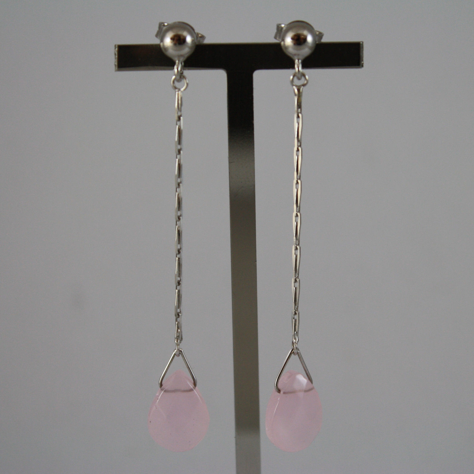 SOLID 18K WHITE GOLD EARRINGS, WITH DROP OF PINK QUARTZ LENGTH 2,48 IN