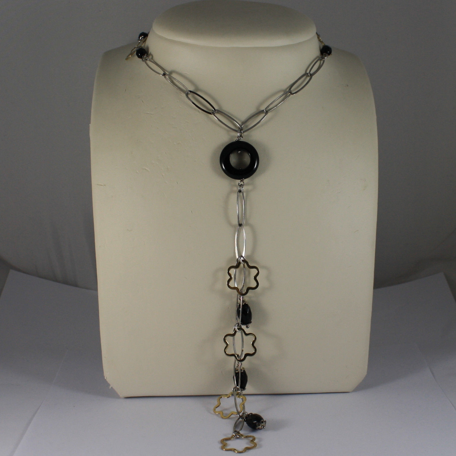 .925 RHODIUM NECKLACE WITH BLACK ONYX AND YELLOW GOLD PLATED FLOWERS