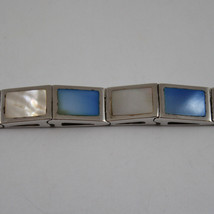 .925 RHODIUM SILVER BRACELET WITH RECTANGLES OF MOTHER OF PEARL BLUE AND WHITE image 2