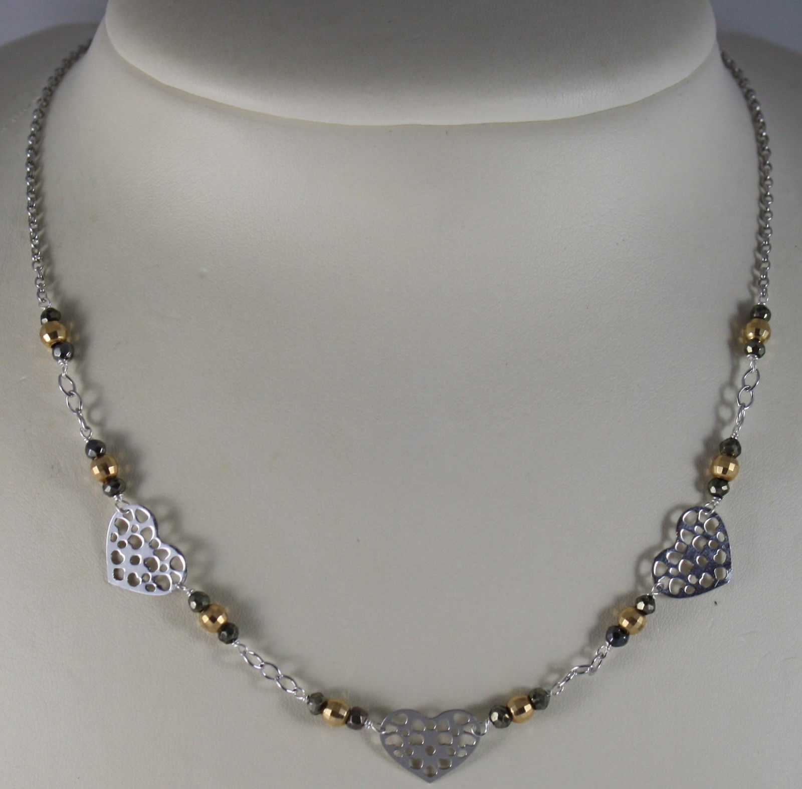 .925 RHODIUM SILVER NECKLACE WITH GOLDEN AND BURNISHED SPHERES AND HEART