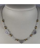 .925 RHODIUM SILVER NECKLACE WITH GOLDEN AND BURNISHED SPHERES AND HEART - $81.70