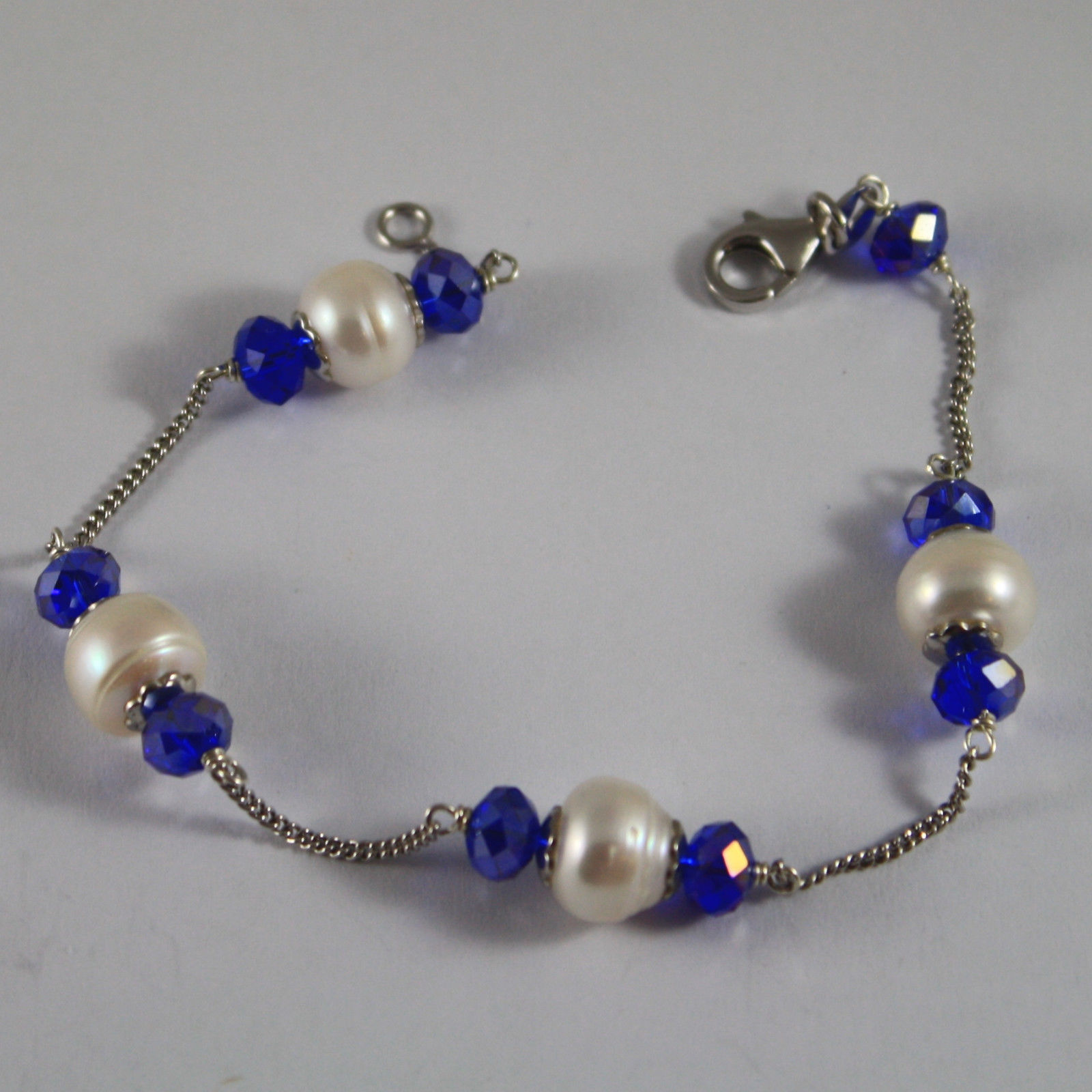 .925 RHODIUM SILVER BRACELET WITH BLUETTE CRYSTALS AND WHITE PEARLS