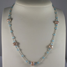 .925 SILVER RHODIUM NECKLACE WITH ROSE PEARLS AND BLUE CRISTALS