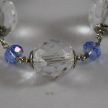 925. RHODIUM SILVER BRACELET WITH BLUE AND TRANSPARENT CRYSTALS image 2