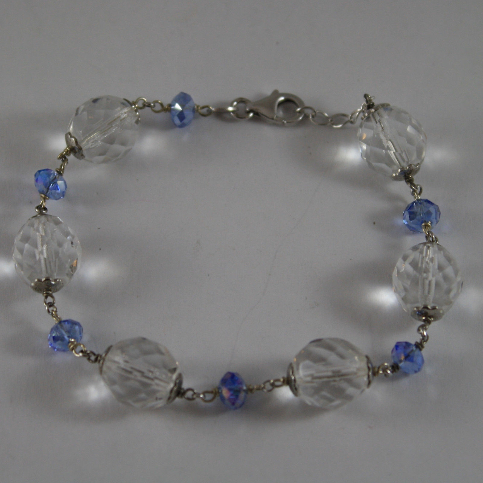 925. RHODIUM SILVER BRACELET WITH BLUE AND TRANSPARENT CRYSTALS