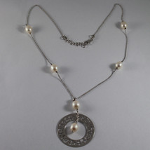 .925 RHODIUM SILVER NECKLACE WITH FRESHWATER WHITE PEARLS AND PERFORATED DISC image 2