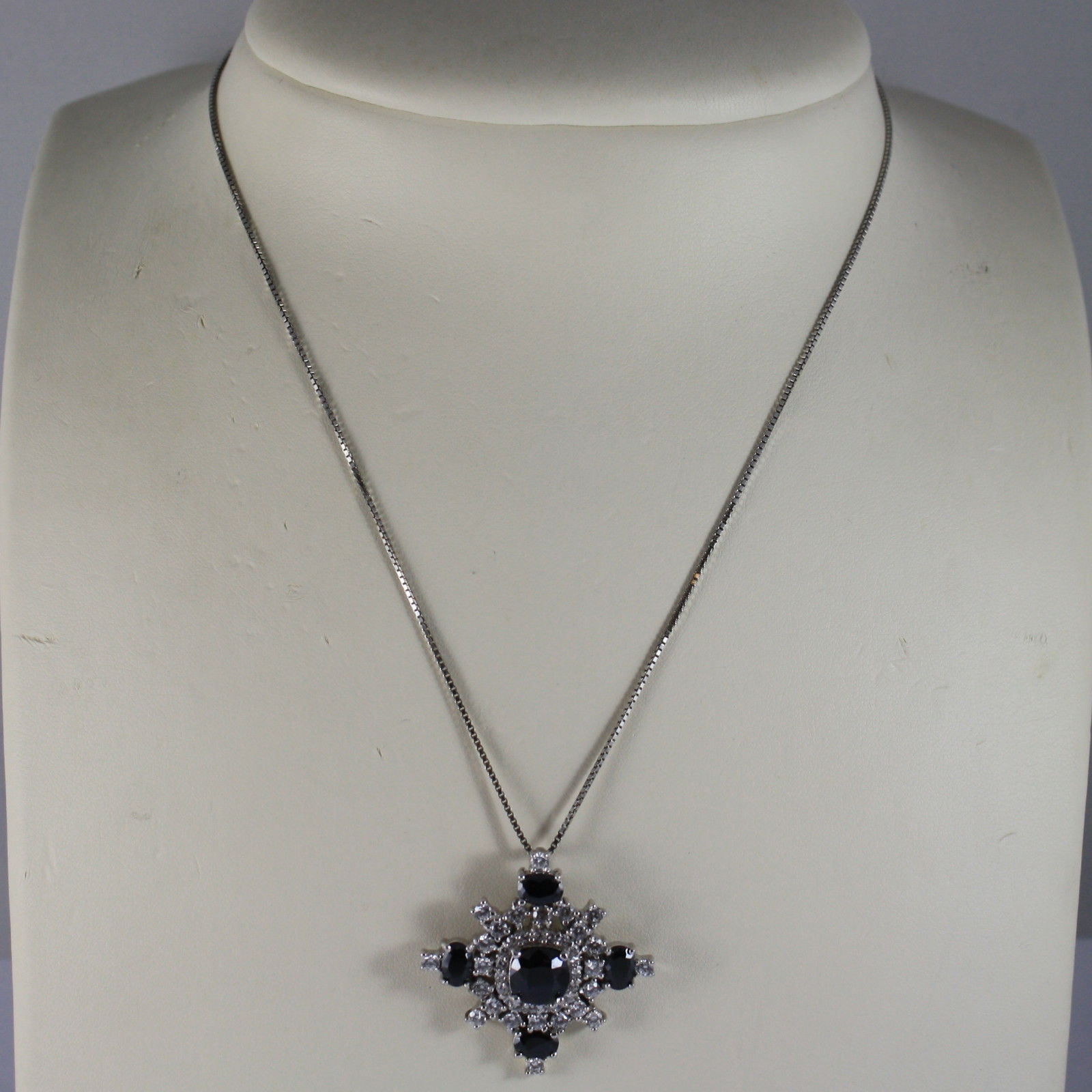 .925 RHODIUM SILVER NECKLACE WITH BLACK CRISTALS AND TRANSPARENT ZIRCONIA