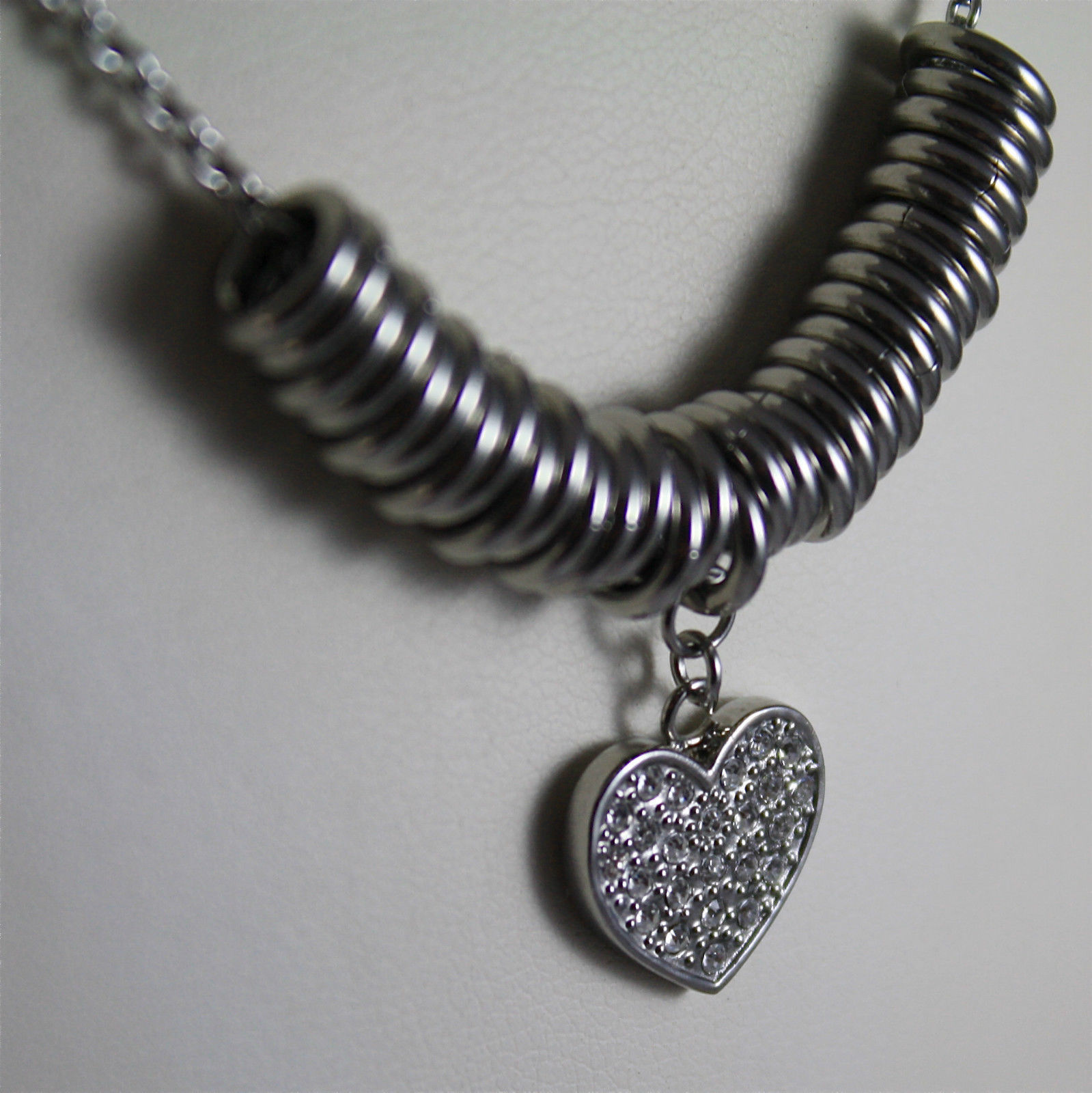 S'AGAPO' NECKLACE, 316L STEEL, HEART PENDANT, FACETED CRYSTAL.