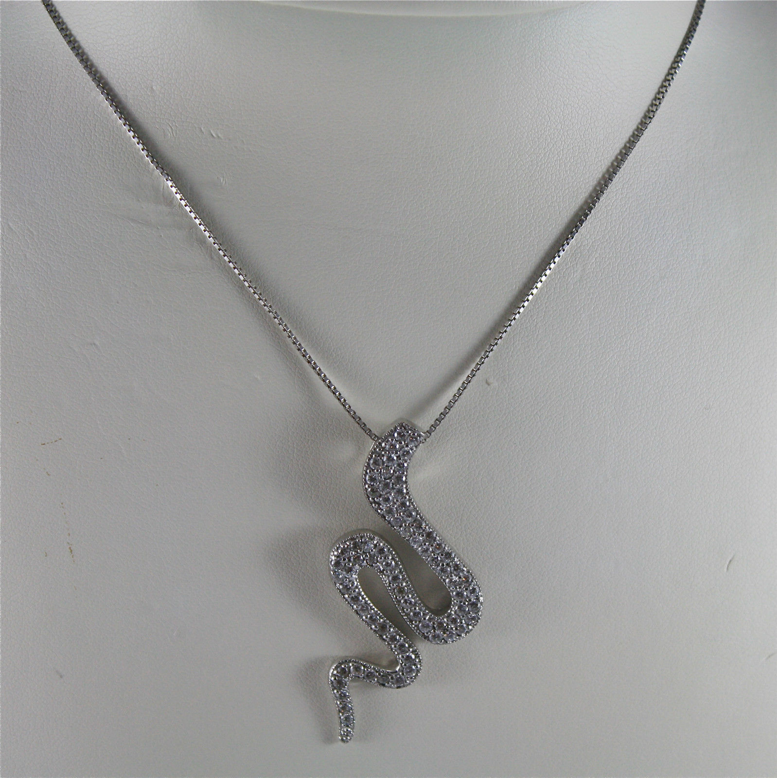 .925 RHODIUM SILVER NECKLACE, 15,75 In, EMBEDDED ZIRCONIA PENDANT, SNAKE SHAPE.