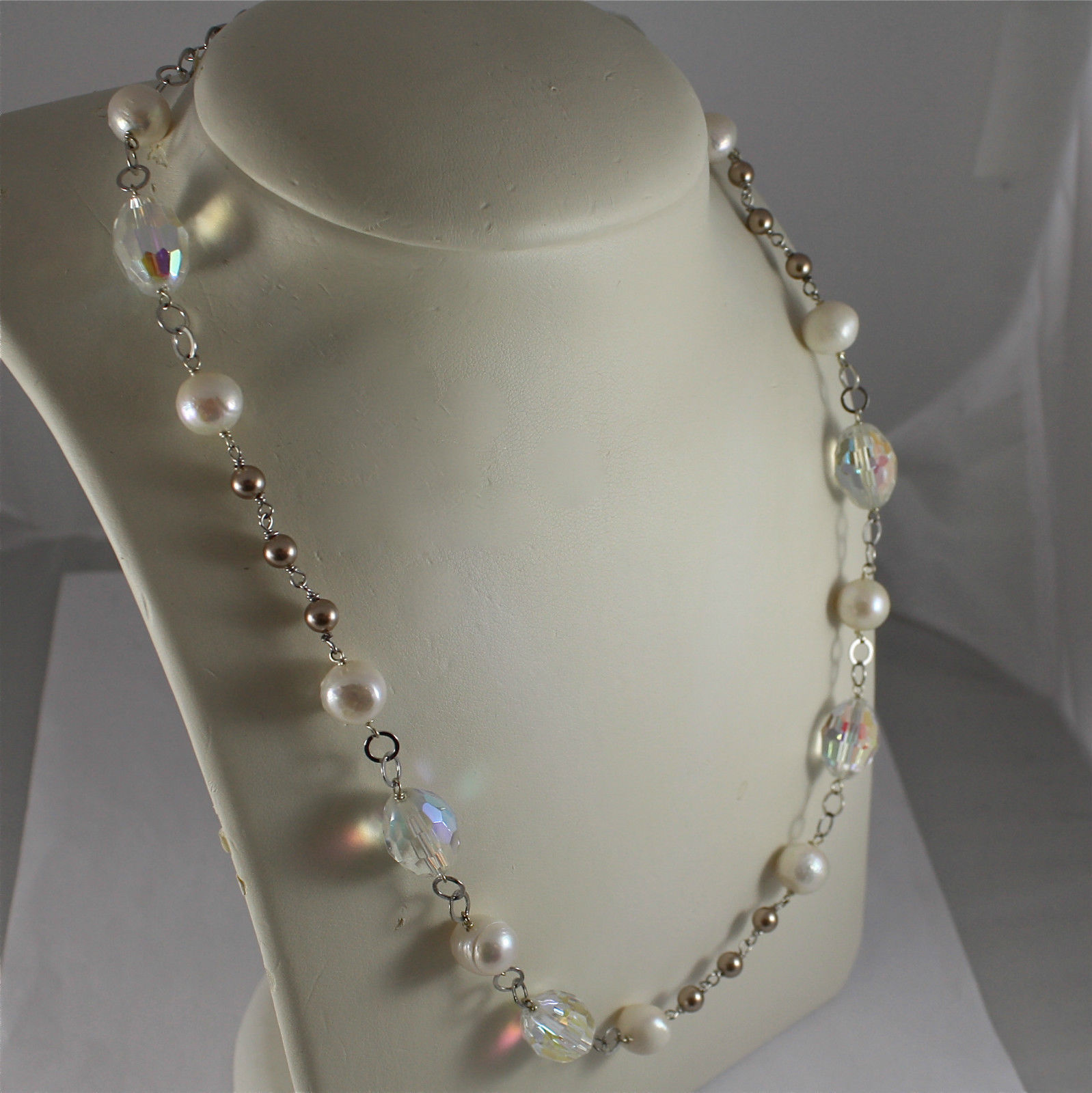 .925 RHODIUM SILVER NECKLACE, CRYSTALS, WHITE PEARLS, BROWN LITTLE PEARLS.