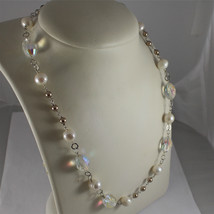 .925 RHODIUM SILVER NECKLACE, CRYSTALS, WHITE PEARLS, BROWN LITTLE PEARLS. image 1
