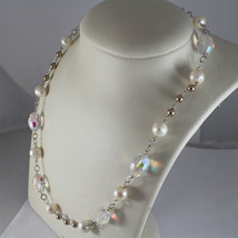 .925 RHODIUM SILVER NECKLACE, CRYSTALS, WHITE PEARLS, BROWN LITTLE PEARLS. image 4