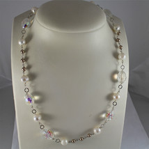 .925 RHODIUM SILVER NECKLACE, CRYSTALS, WHITE PEARLS, BROWN LITTLE PEARLS. image 3