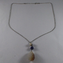 .925 SILVER RHODIUM NECKLACE WITH PURPLE AGATE AND DROP OF QUARTZ image 2