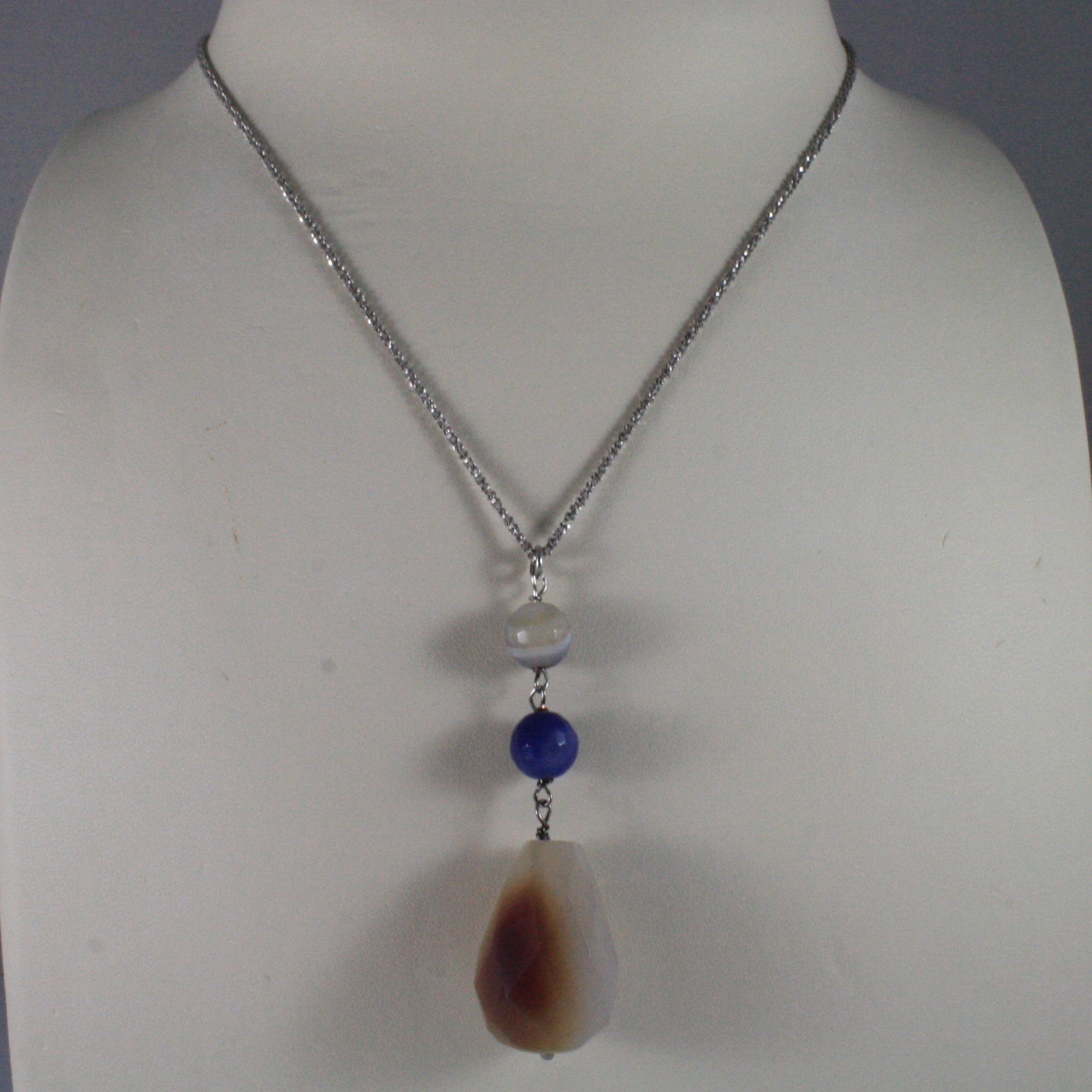 .925 SILVER RHODIUM NECKLACE WITH PURPLE AGATE AND DROP OF QUARTZ