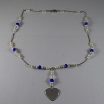 .925 RHODIUM NECKLACE WITH BLUETTE CRYSTALS, WHITE PEARLS AND HEART image 2
