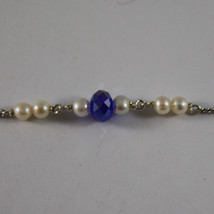 .925 RHODIUM NECKLACE WITH BLUETTE CRYSTALS, WHITE PEARLS AND HEART image 4