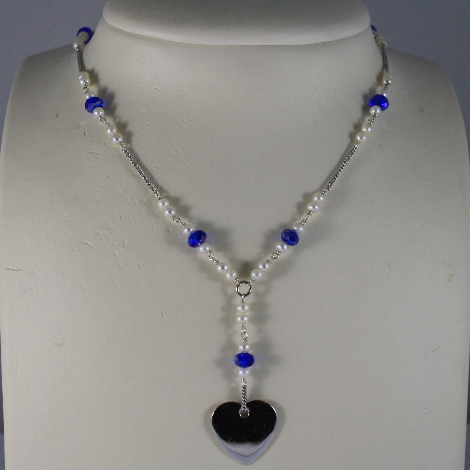 .925 RHODIUM NECKLACE WITH BLUETTE CRYSTALS, WHITE PEARLS AND HEART