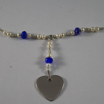 .925 RHODIUM NECKLACE WITH BLUETTE CRYSTALS, WHITE PEARLS AND HEART image 3