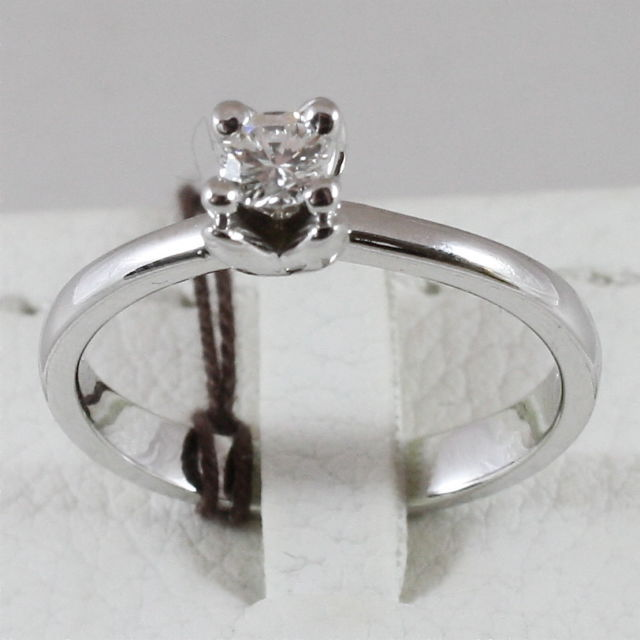 18K 750 WHITE GOLD SOLITAIRE RING WITH DIAMOND CT 0.20 COLOR H VVS MADE IN ITALY