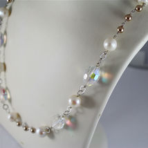 .925 RHODIUM SILVER NECKLACE, CRYSTALS, WHITE PEARLS, BROWN LITTLE PEARLS. image 5