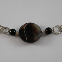 .925 SILVER RHODIUM NECKLACE WITH BLACK ONYX, WHITE PEARLS, CRYSTALS AND AGATE image 4