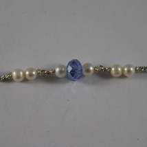 .925 RHODIUM NECKLACE WITH BLUE CRYSTALS, WHITE PEARLS AND HEART image 4