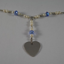 .925 RHODIUM NECKLACE WITH BLUE CRYSTALS, WHITE PEARLS AND HEART image 3