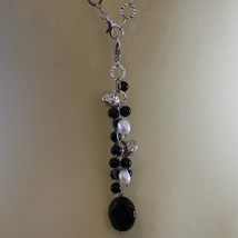 .925 SILVER RHODIUM NECKLACE WITH BLACK ONYX, WHITE PEARLS, CRYSTALS AND AGATE image 3