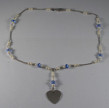 .925 RHODIUM NECKLACE WITH BLUE CRYSTALS, WHITE PEARLS AND HEART image 2